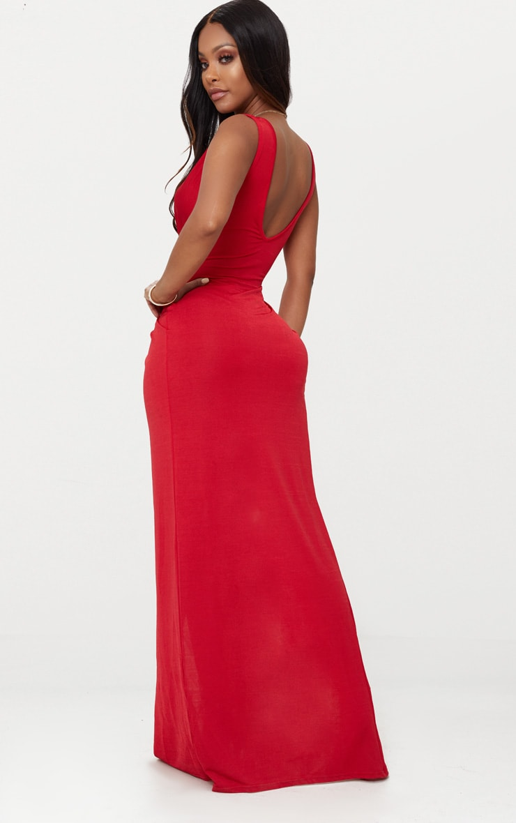 Shape Red Slinky Wrap Detail Maxi Dress 2