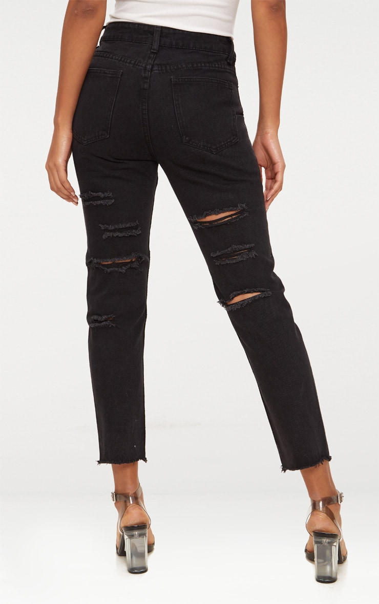 Black Distressed Back Boyfriend Jean 4