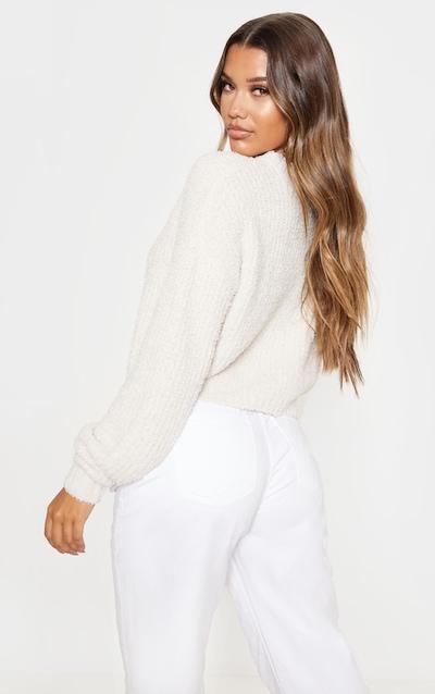 Cream Textured Soft Knit Crop Jumper