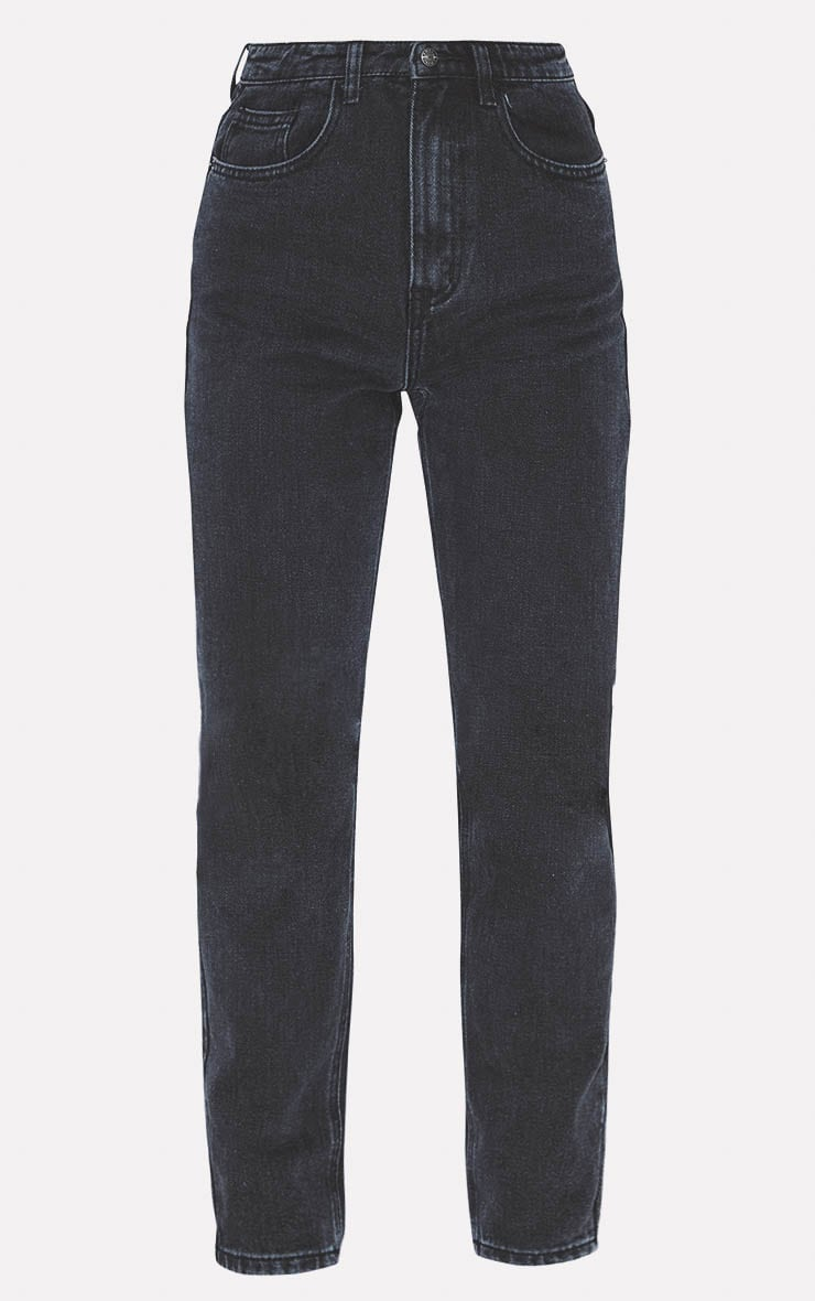 PRETTYLITTLETHING Washed Black Straight Leg Jean 3