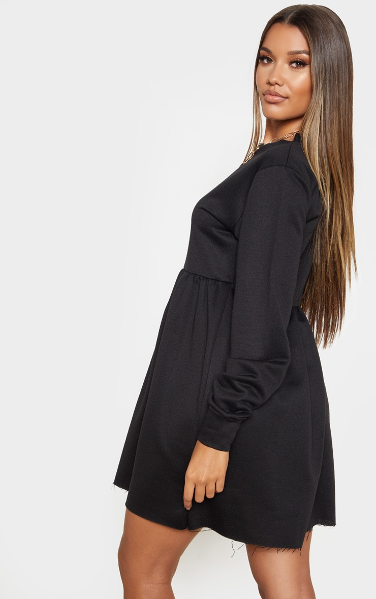 Black Sweat Long Sleeve Smock Dress 2