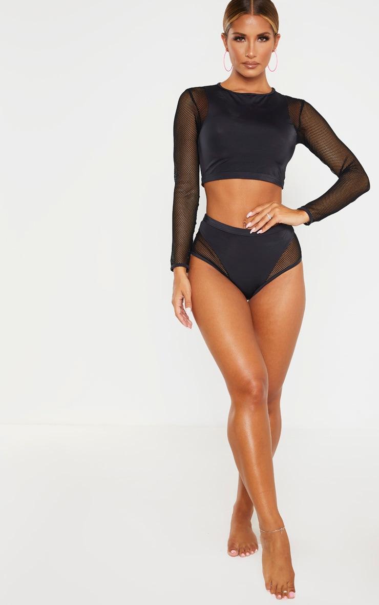 Top de bikini en résille noir à manches longues 4