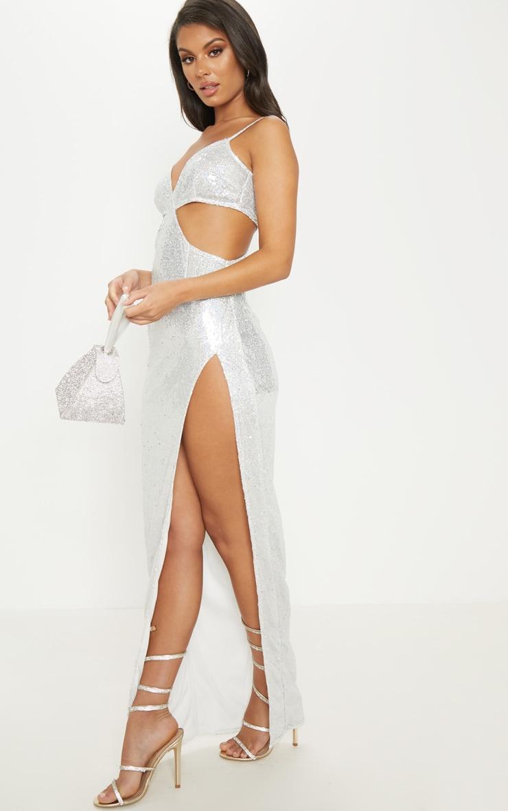 Silver Sequin Disc Cut Out Maxi Dress 4