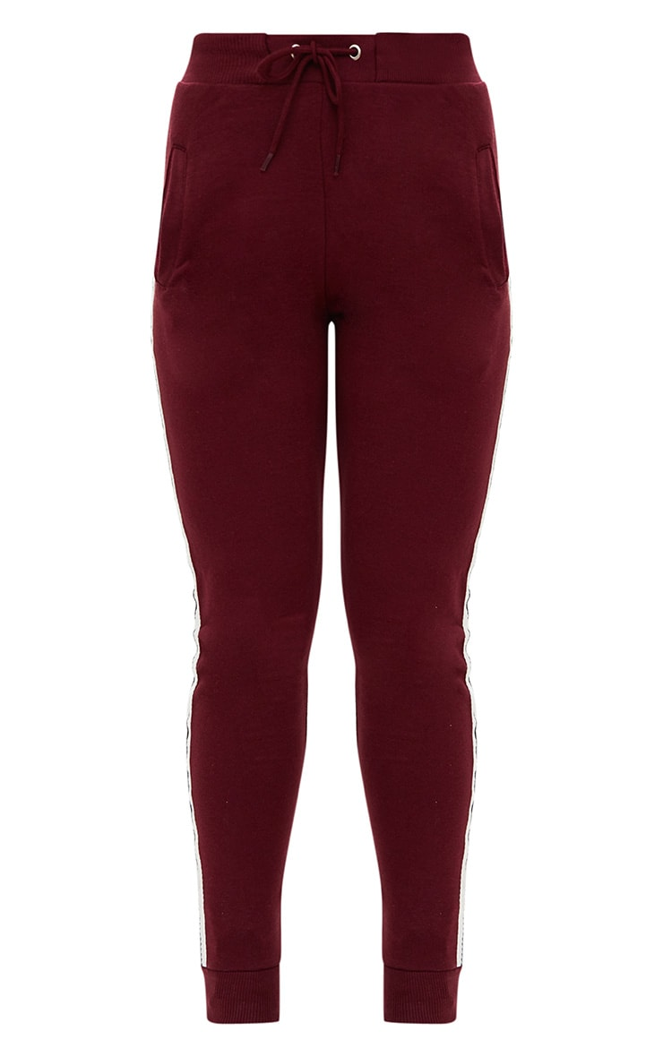 Burgundy Side Stripe Joggers 3