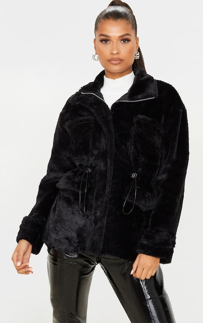 Black Faux Fur Gathered Waist Jacket