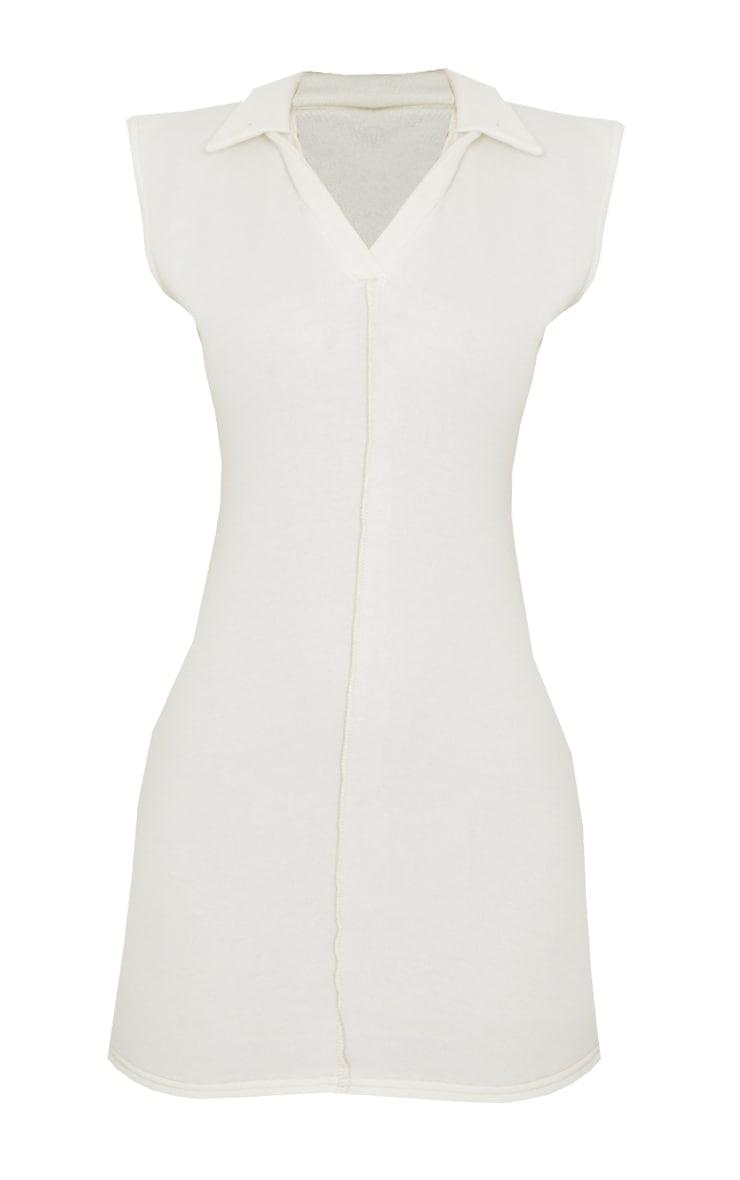 Cream Contrast Binding Collar Detail Sleeveless Bodycon Dress 5