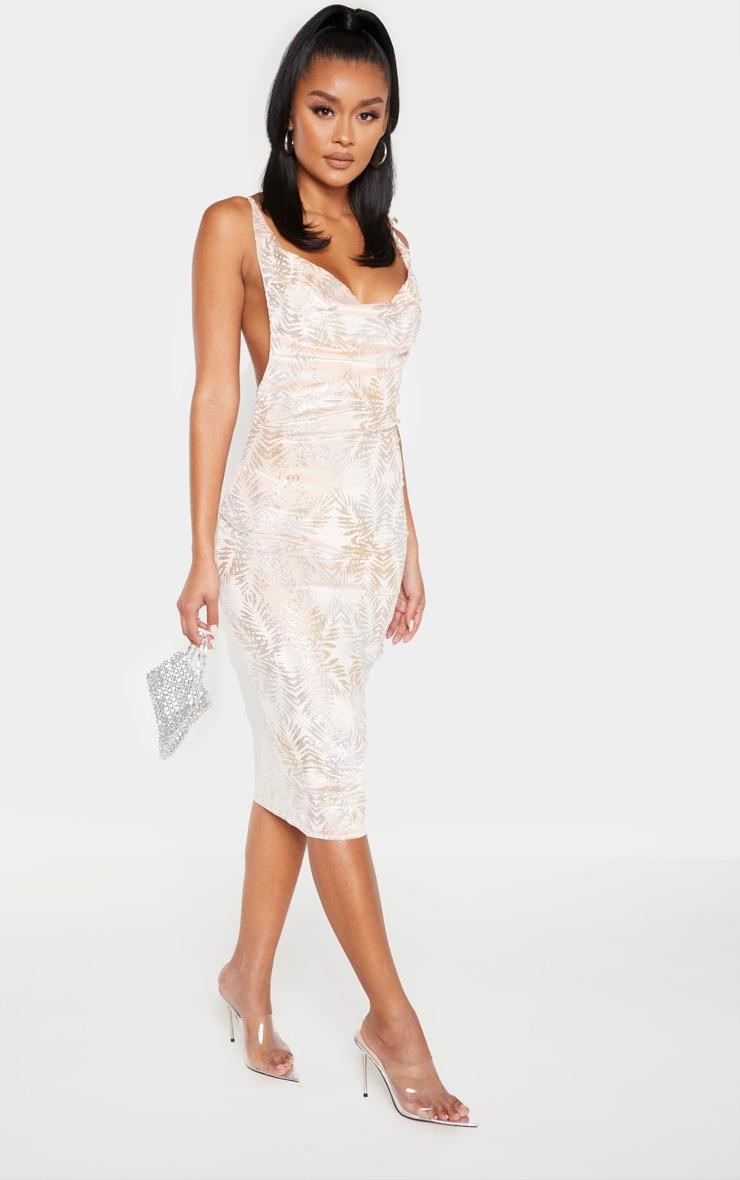 Blush Strappy Cowl Velvet Glitter Midi Dress by Prettylittlething