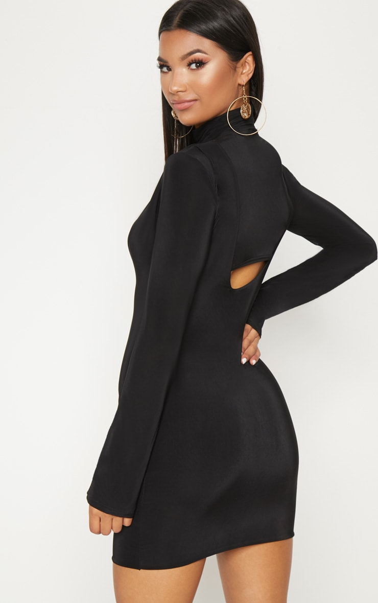 Black 2 In 1 Long Sleeve Under Boob Slinky Mini Dress 2