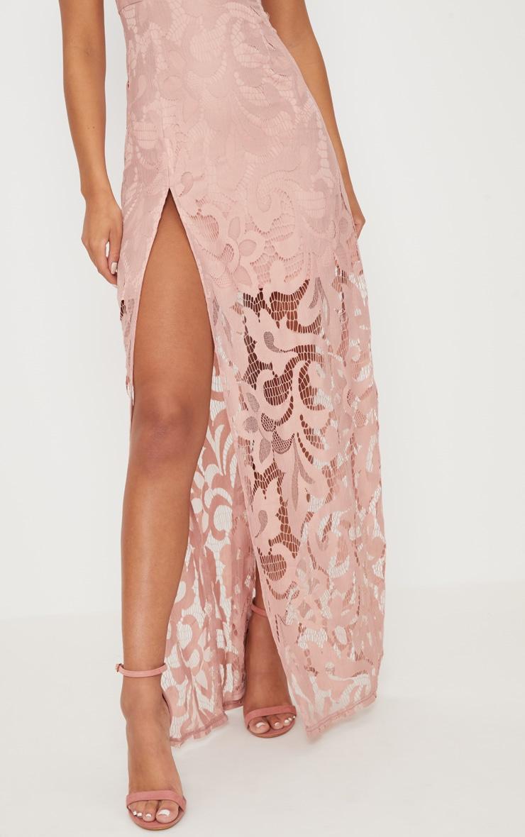 Nude Lace Cap Sleeve Extreme Split Maxi Dress 5