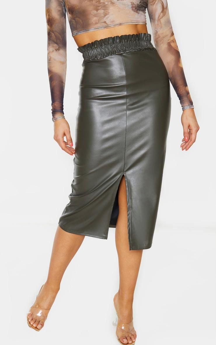 Tall Khaki Ruched Waist PU Midi Skirt 2