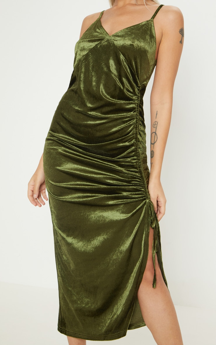 Petite Khaki Velvet Ruched Side Strappy Midi Dress 5