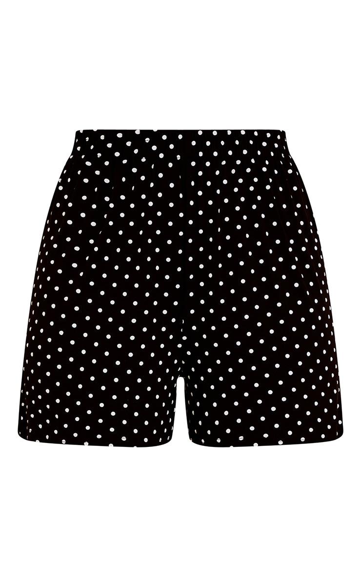 Black Polka Dot Oversized Floaty Shorts 5