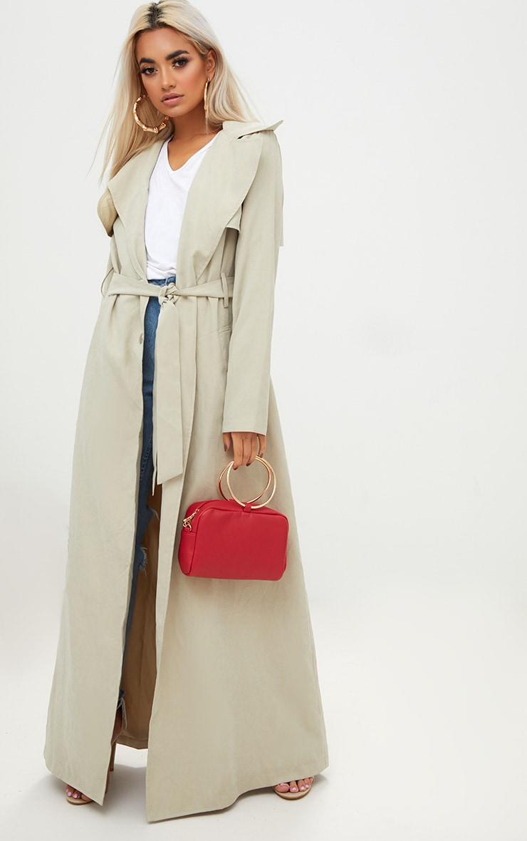 Red Metal Ring Handle Shoulder Bag 4