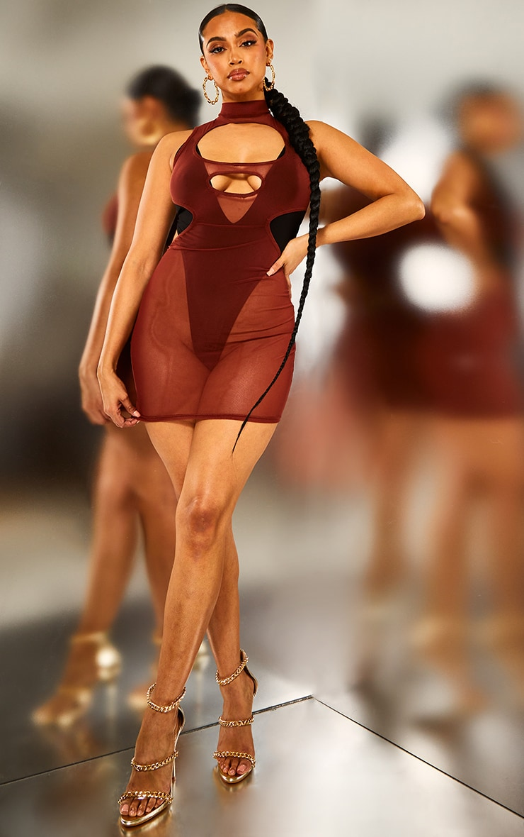 Brown Mesh Cut Out Bodycon Dress