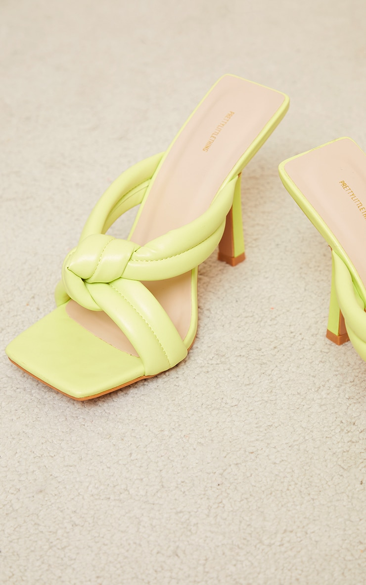 Lime Quilted Knotted High Flare Heel Mules 4