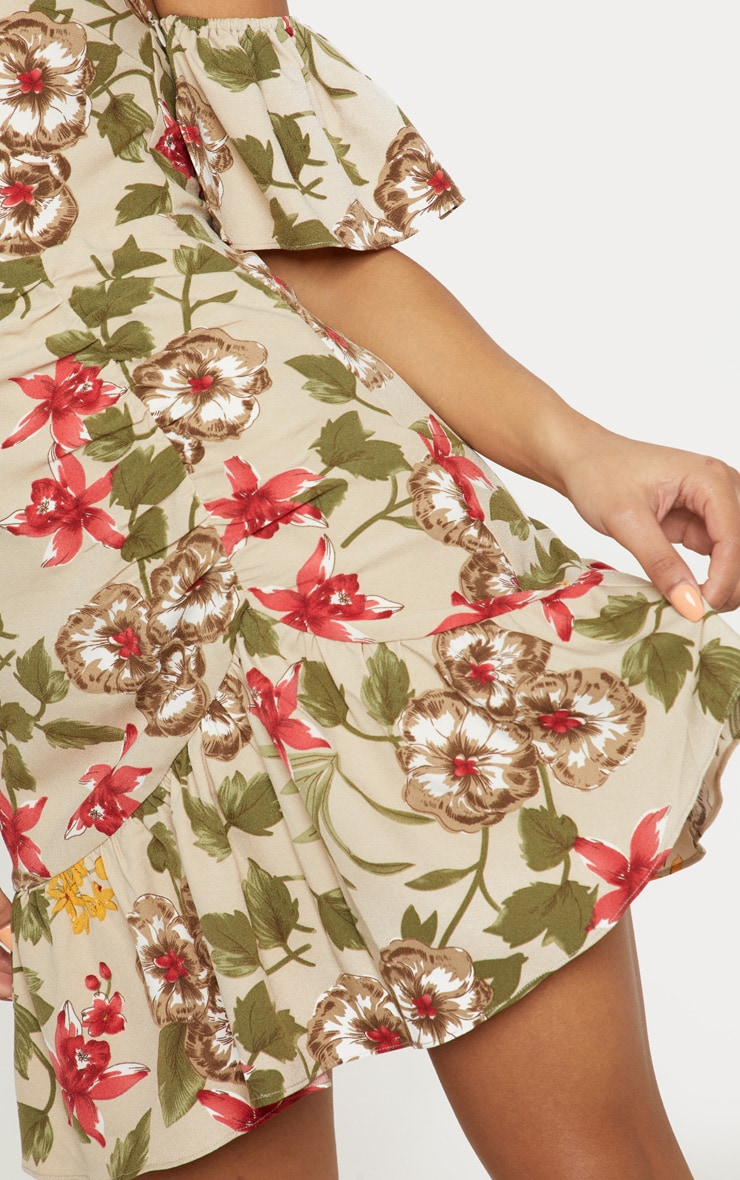 Beige Floral Frill Detail Bodycon Dress 5
