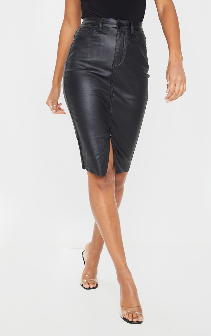 Black Coated Denim Midi Skirt 2