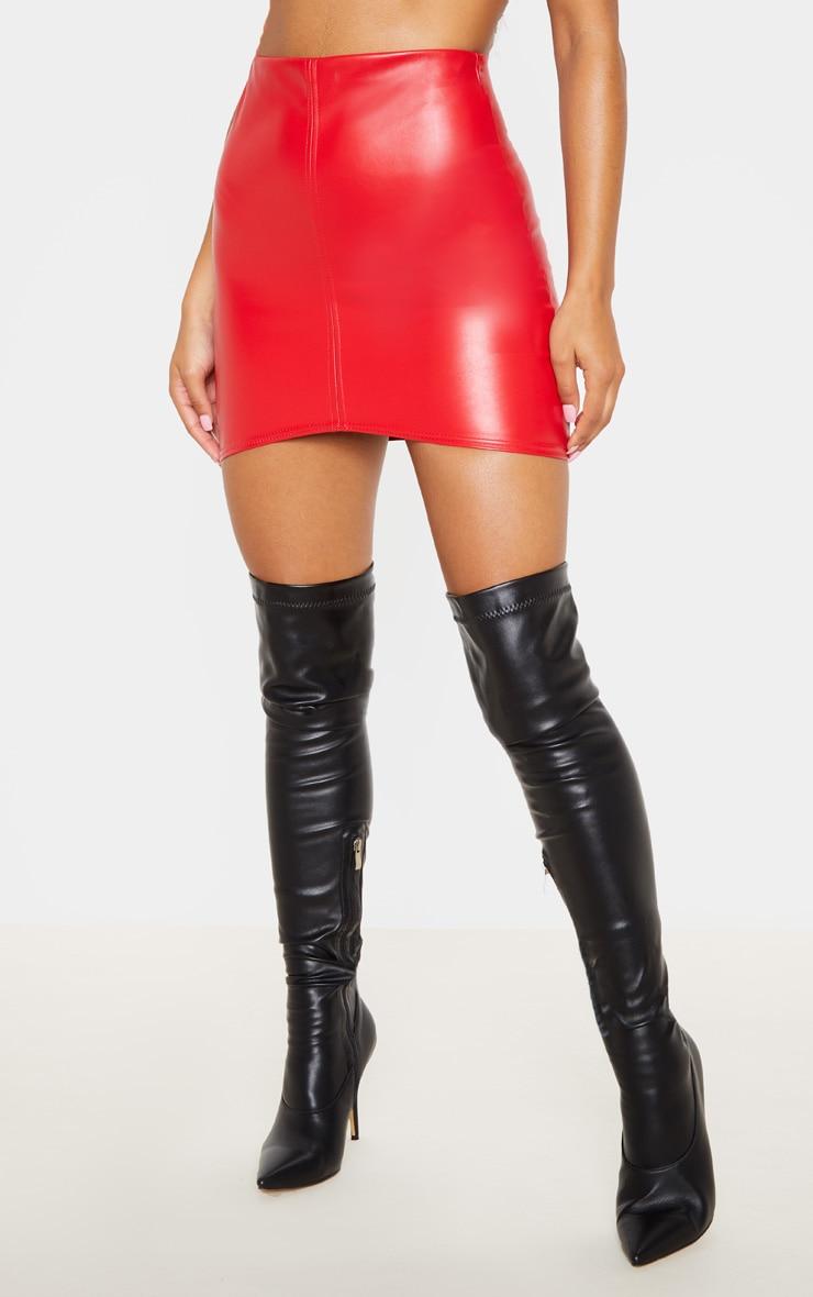 Bekka minijupe rouge imitation cuir à bande asymétrique 2