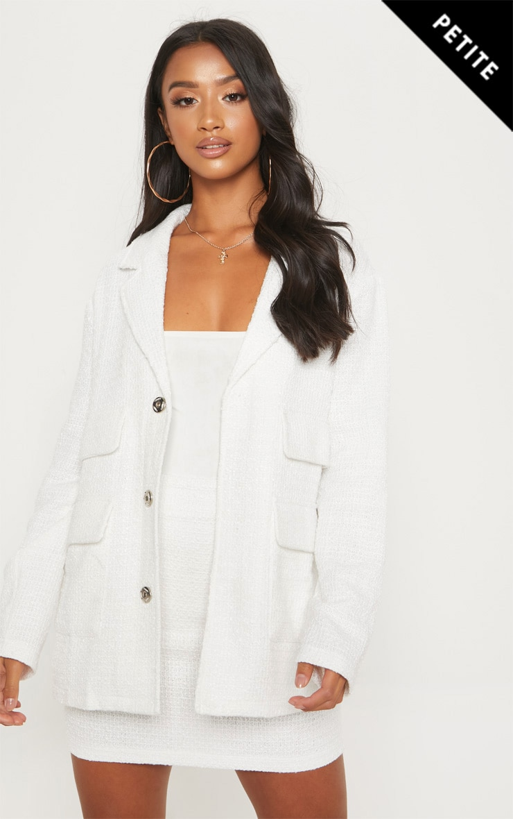 Petite White Boucle Longline Jacket 1