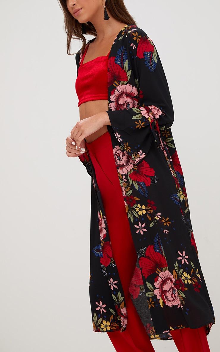 Black Floral Tie Sleeve Kimono Jacket 5
