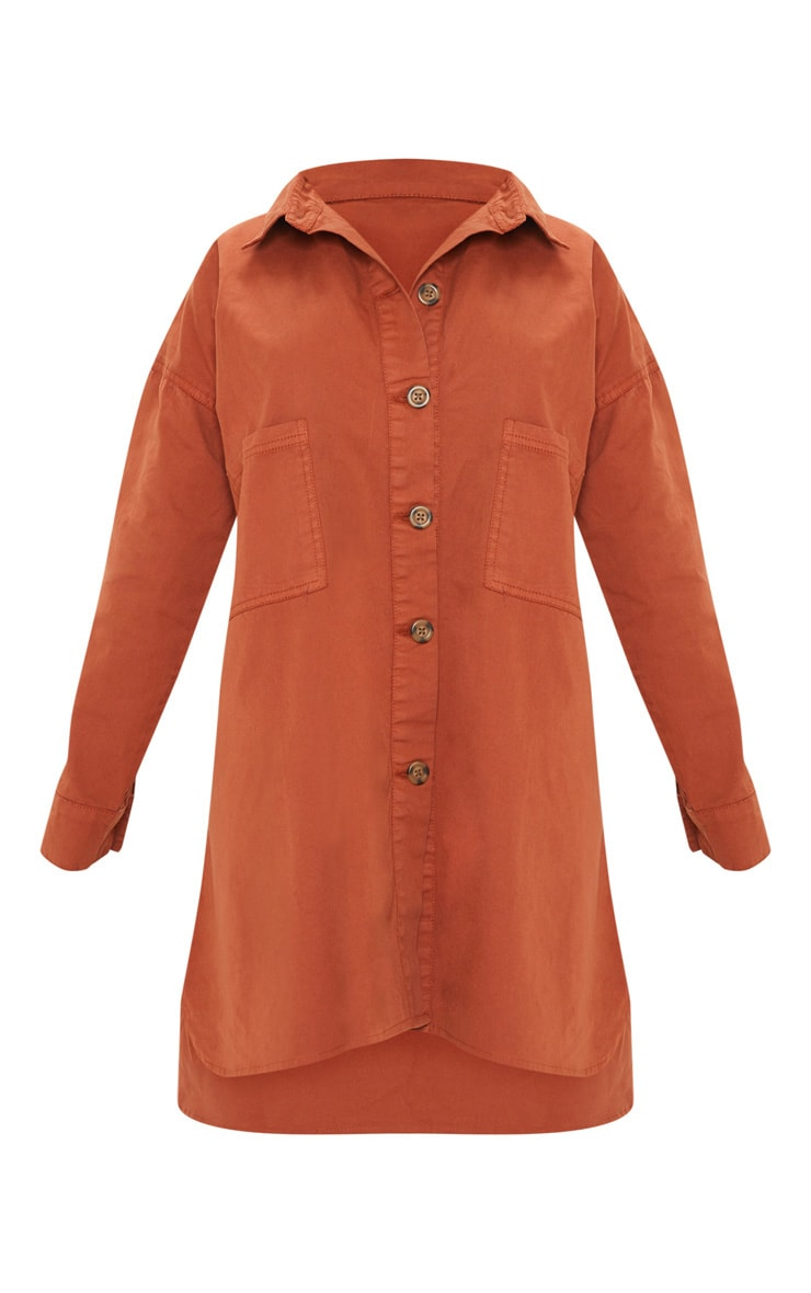 Petite Rust Tortoise Button Oversized Denim Shirt Dress 3