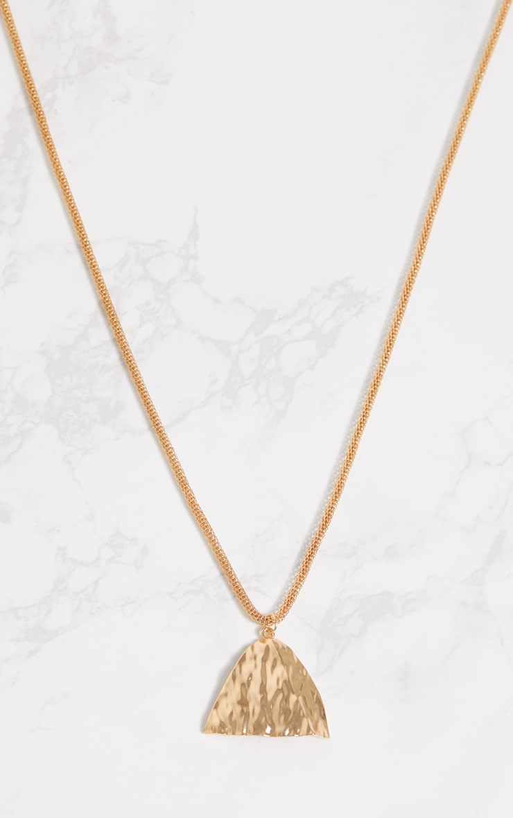 Gold Long Chain Triangle Pendant Necklace 3