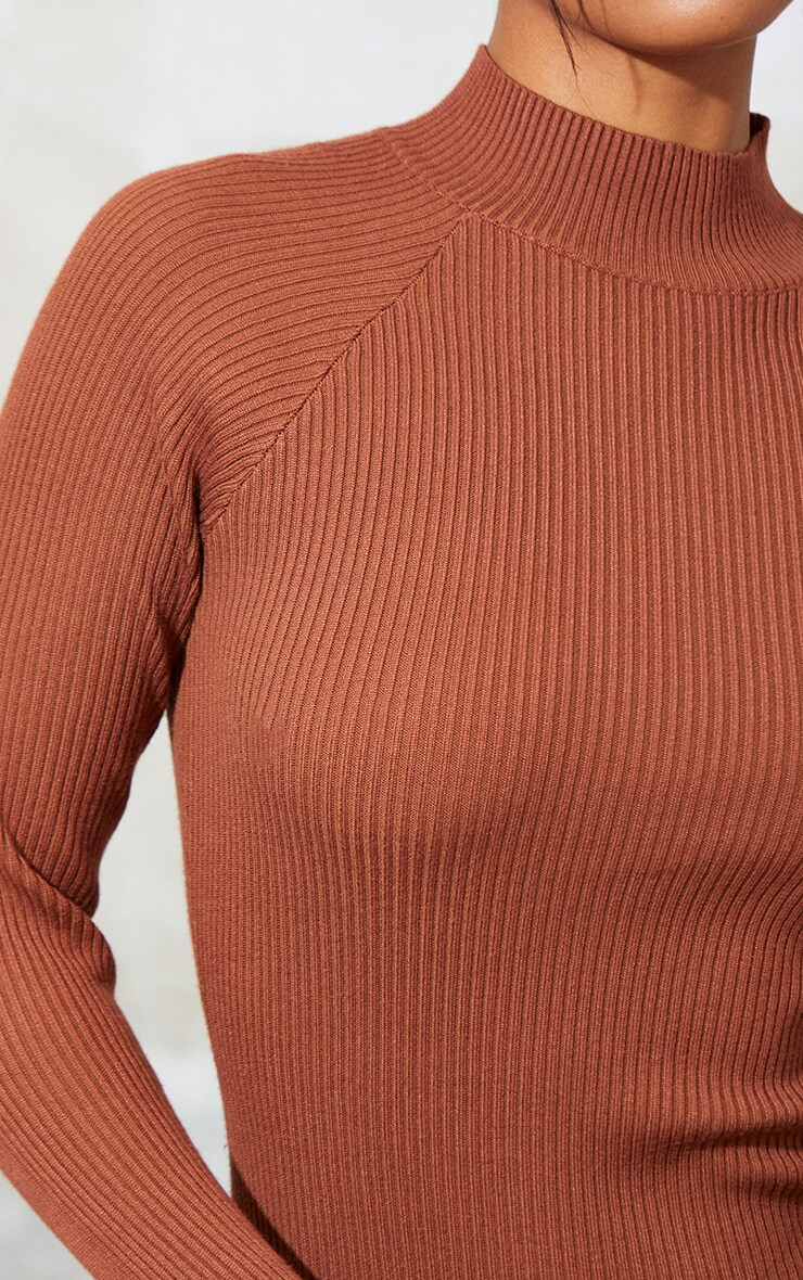 Rust Turtle Neck Knitted Bodycon Maxi Dress 4