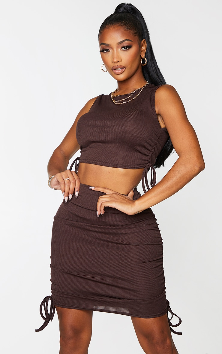 Shape Chocolate Brown Rib Ruched Side Crop Top 1