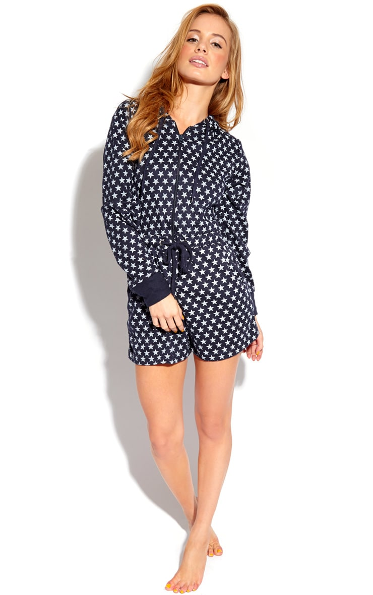 Betty Navy & White Star Print Short Onesie 4