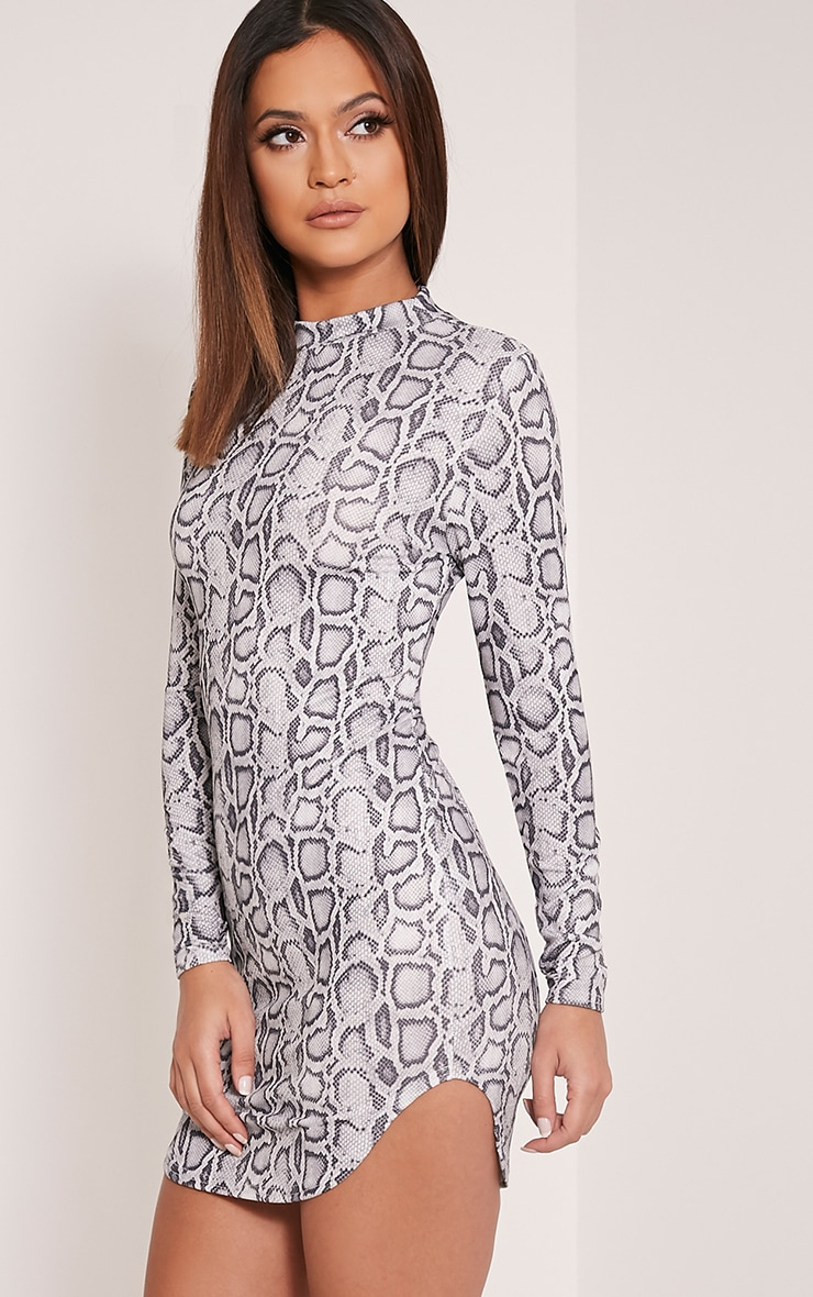 Alby Grey Snake Print Curved Hem Dress 4