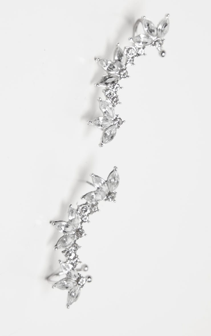 Silver Crystal Floral Affect Chain Ear Climber 3