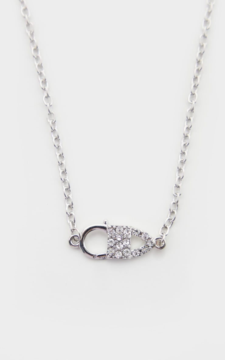 Silver Pave Pin Charm Necklace 3