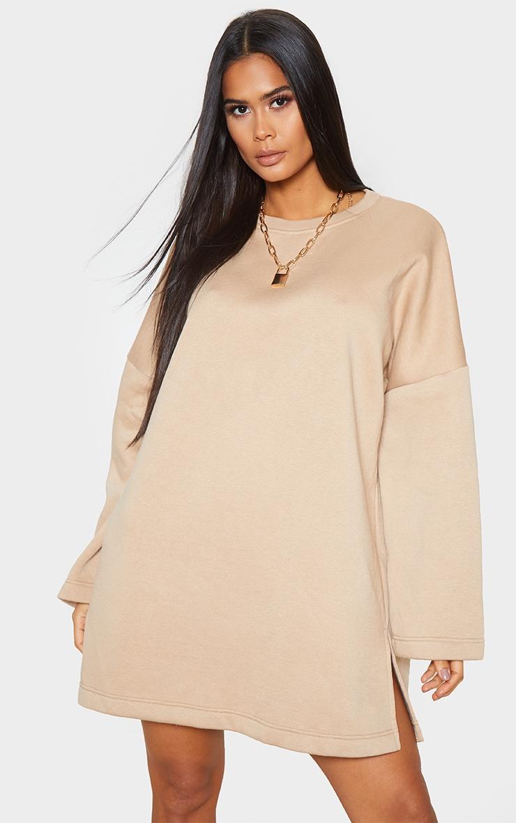 Sand Oversized Side Split Sweat Sweater Dress 1