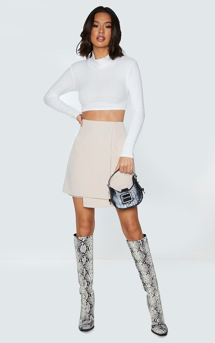 Stone Woven Wrap Mini Skirt 4