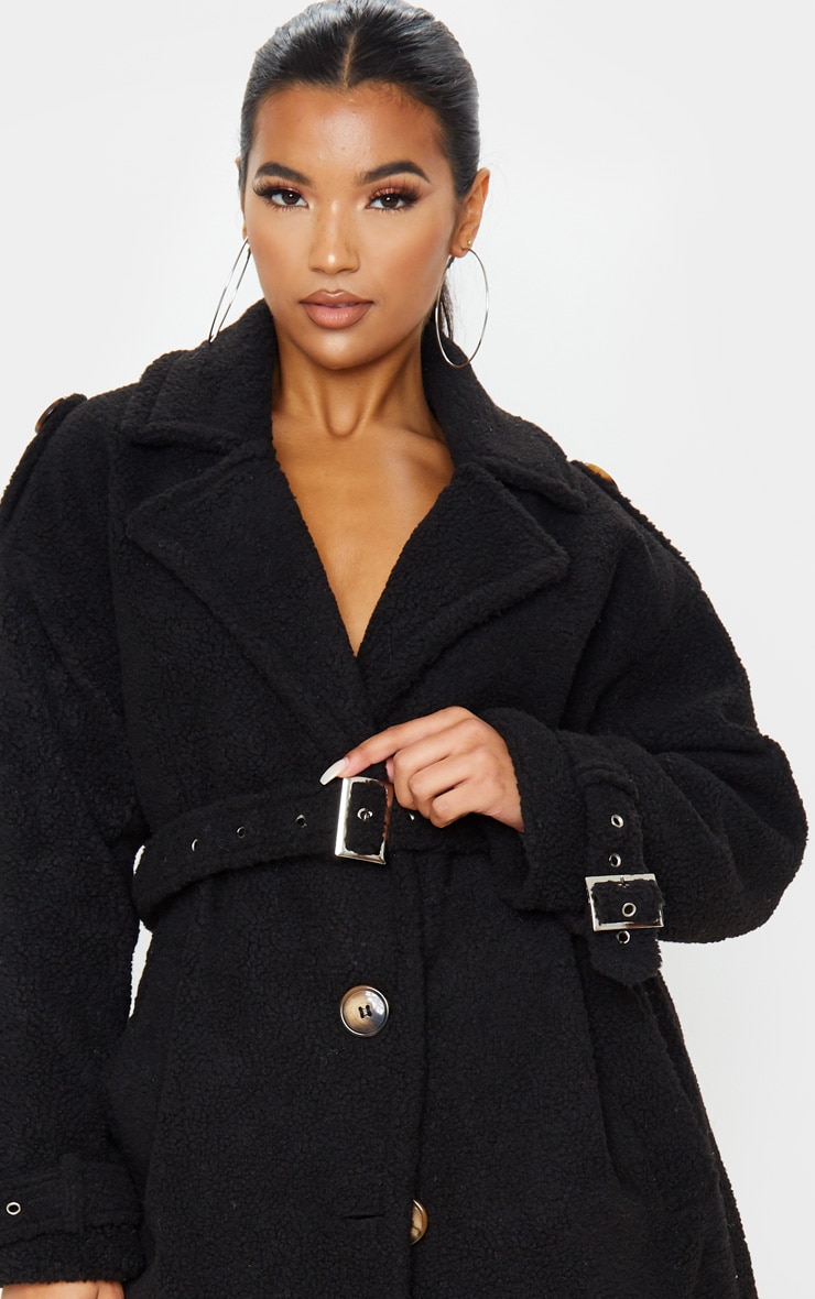 Black Borg Oversized Belted Coat 5