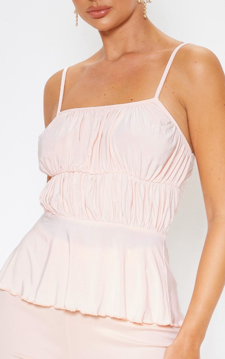 Champagne Textured Slinky Cup Detail Cami Top 5
