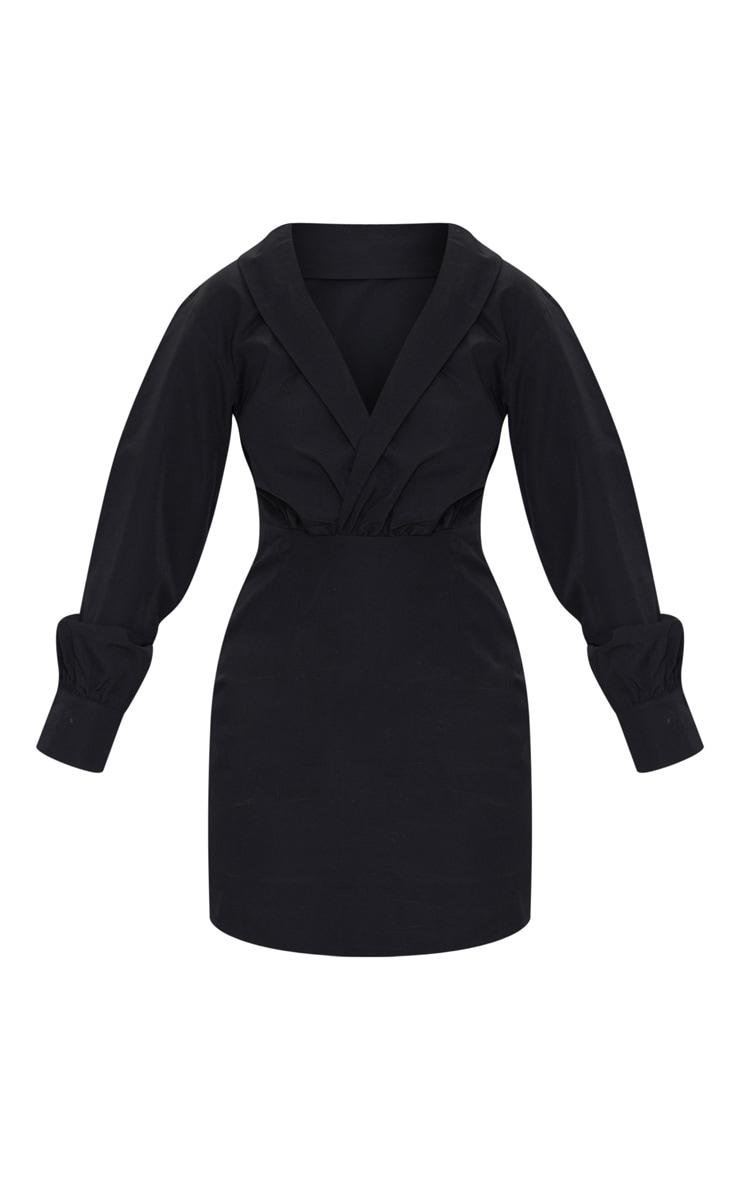 Petite Black Button Front Plunge Shirt Dress 5