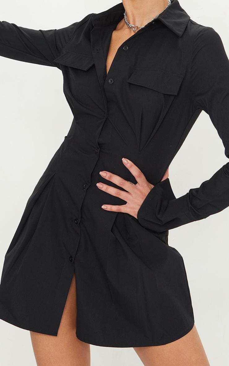 Tall Black Pocket Detail Cargo Cinched Waist Shirt Dress 4