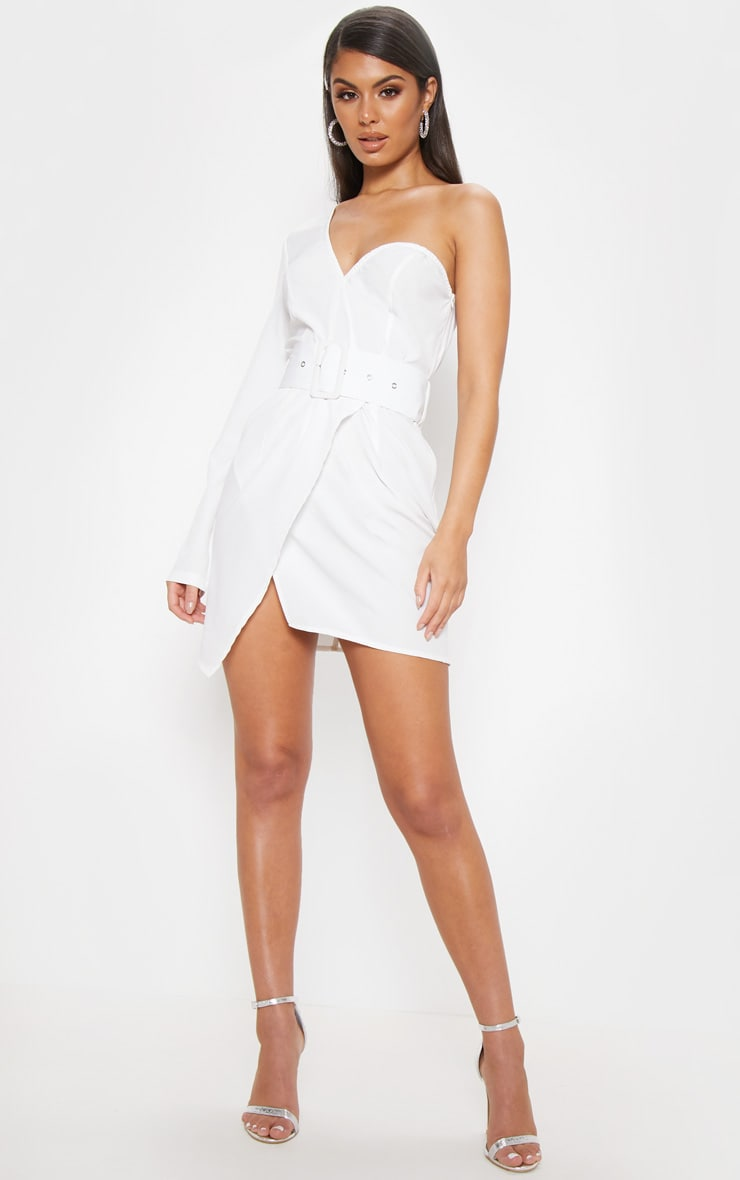 White One Shoulder Belted Bodycon Dress 4