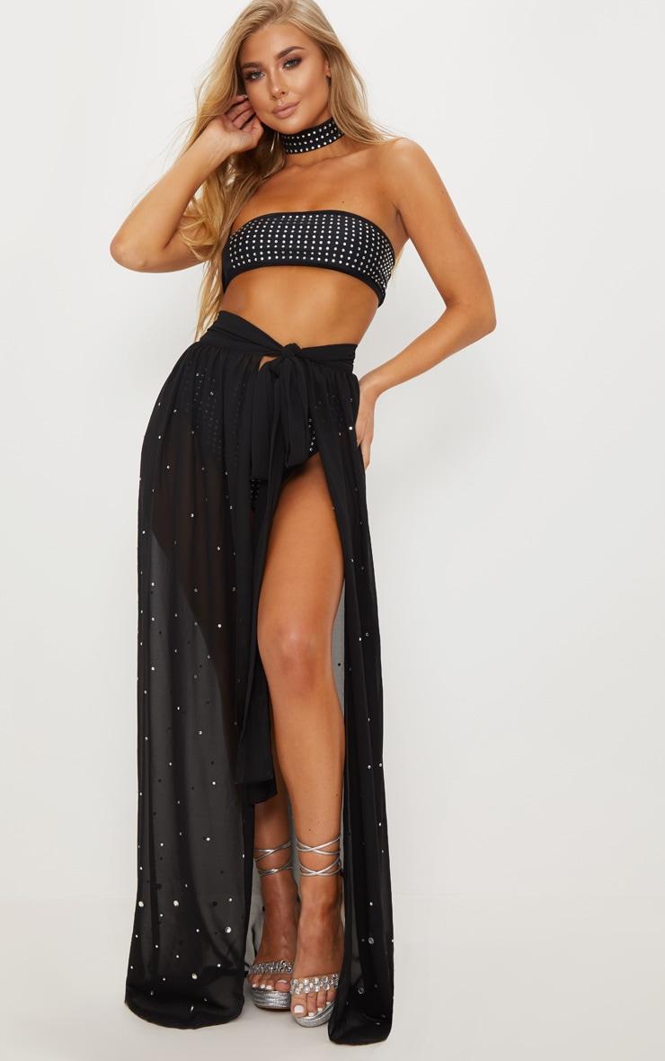 Premium - Jupe longue noire à strass 2
