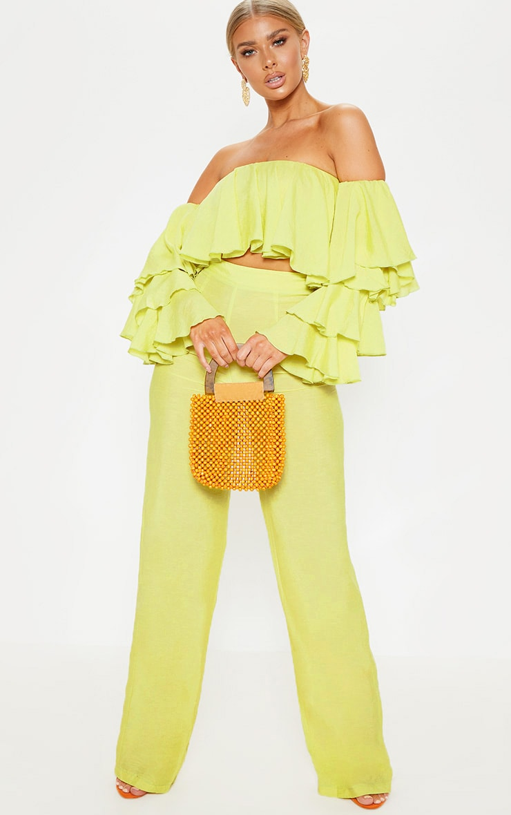 Lime Woven Bardot Tiered Sleeve Crop Top