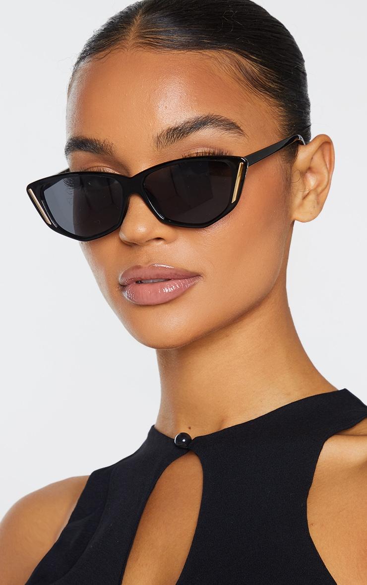 Black Cat Eye With Gold Trim Sunglasses 1