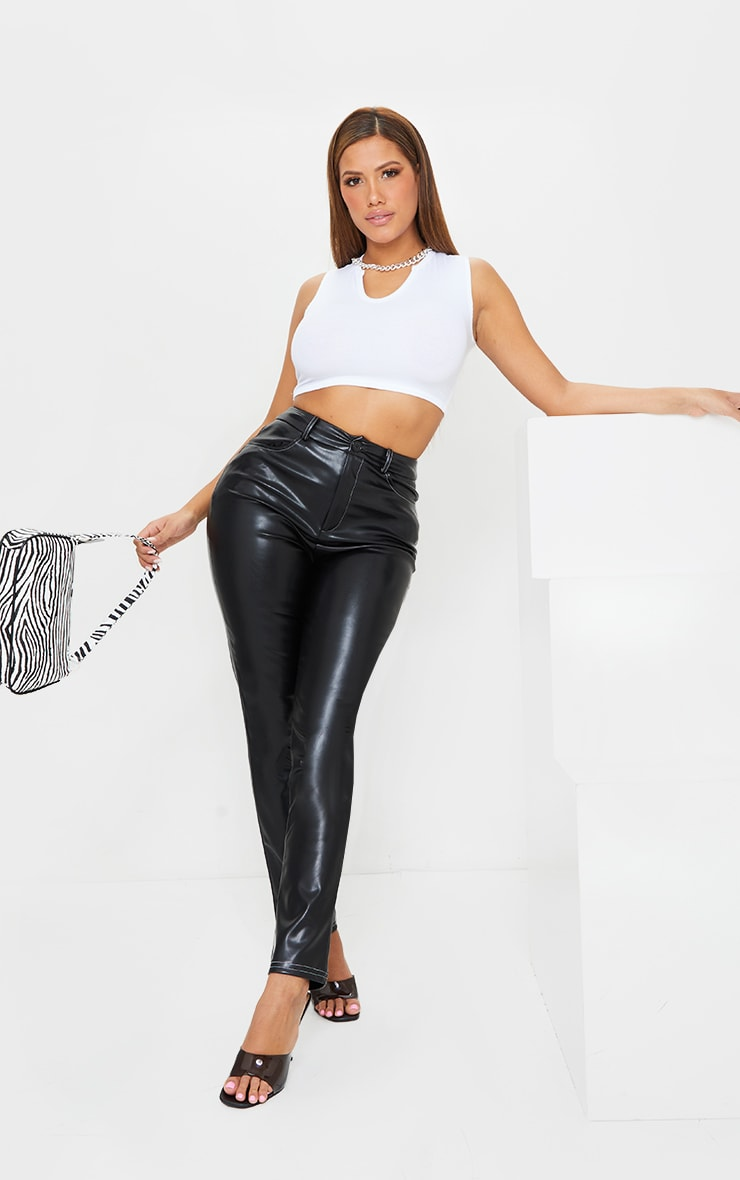 Shape Black Faux Leather Contrast Stitch Straight Leg Trousers