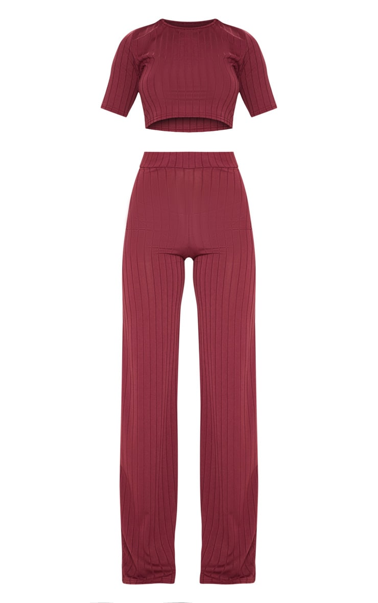 Burgundy Short Sleeve Rib Set 3