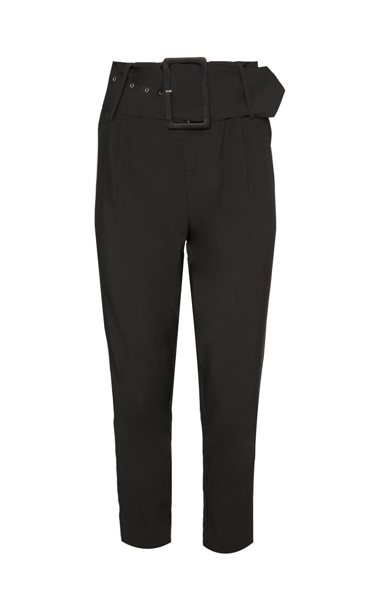 Black Super High Waisted Belted Tapered Pants 3