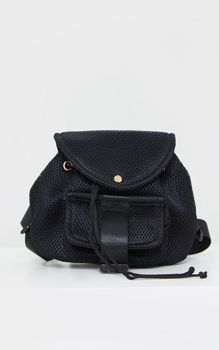 Black Mesh Seatbelt Pocket Mini Backpack 2