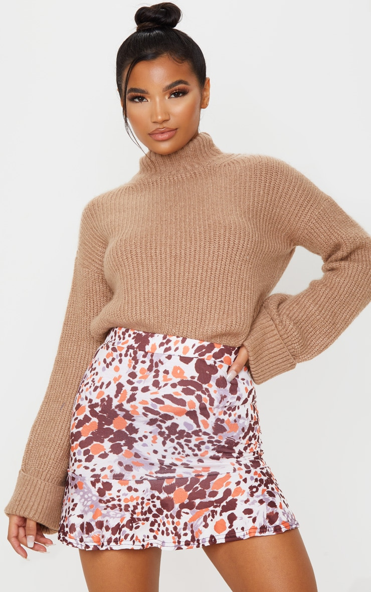 Beige Abstract Animal Print Flippy Hem Mini Skirt 5