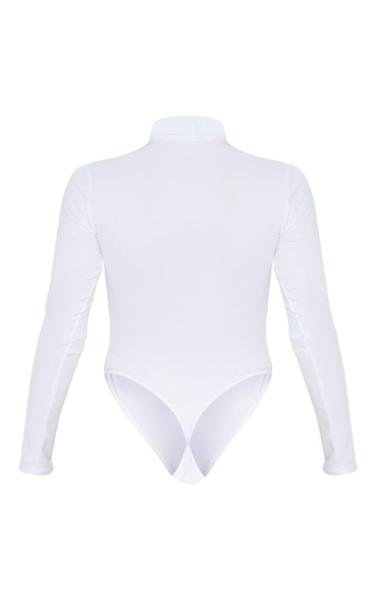 White Cut Out Detail Crepe Bodysuit 4