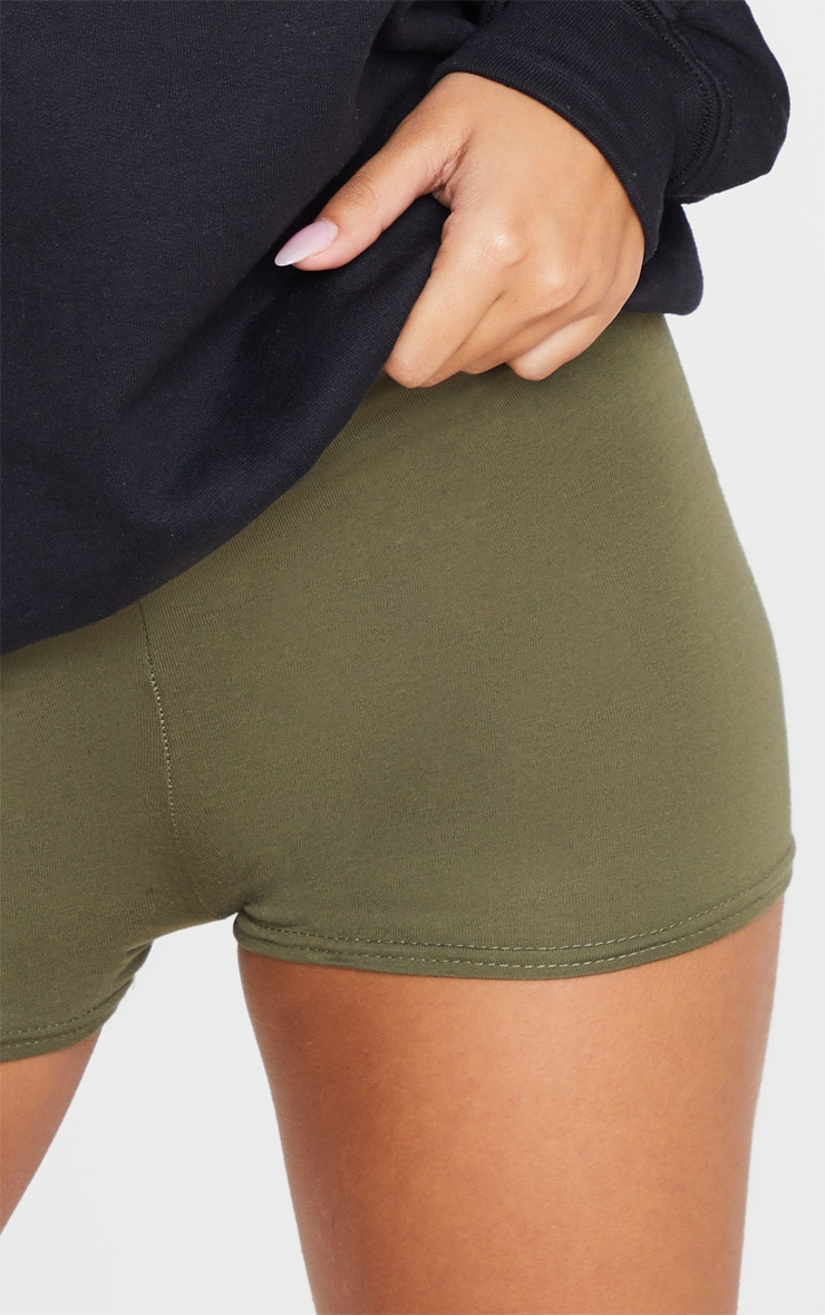Khaki Basic High Waisted Shorts 6