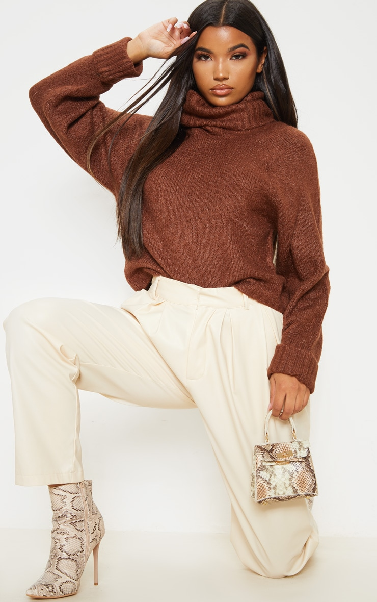 Brown Fluffy Chunky Roll Neck Jumper 4